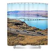 Wanapum Lake Colombia River Wild Horses Monument And Canyons Shower Curtain