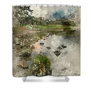 Watercolor Painting Of Beautiful Autumn Fall Landscape Image Of  Shower Curtain