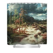 Waterfall In Smaland Shower Curtain