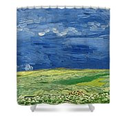 Wheat Field Under Thunderclouds Shower Curtain