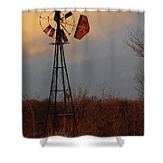 Windmill At Dusk Shower Curtain