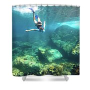 Woman Free Diving Shower Curtain