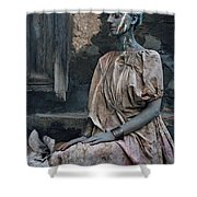 Woman In Bronze Statue Look With Patina Body Paint Shower Curtain