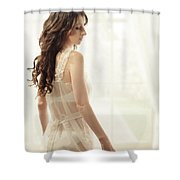 Woman In Vintage Negligee Shower Curtain