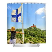 Woman Tourist In Sintra Shower Curtain