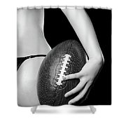 Woman With A Football Shower Curtain