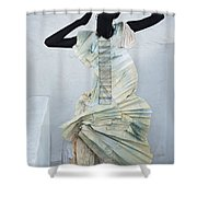 Woman With Black Boby Paint In Paper Dress Shower Curtain