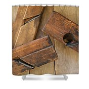 3 Wood Planes Shower Curtain