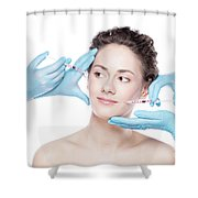 Young Woman Having Botox Face Injections. Shower Curtain