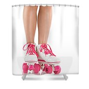 Young Woman Wearing Roller Derby Skates Shower Curtain