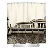 30th Street Station From The River Walk In Sepia Shower Curtain