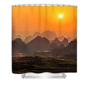 Karst Mountains Scenery In Sunset Shower Curtain