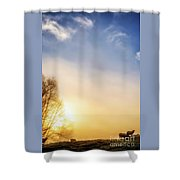 Misty Mountain Sunrise Shower Curtain