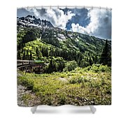 The White Pass And Yukon Route On Train Passing Through Vast Lan Shower Curtain