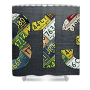313 Area Code Detroit Michigan Recycled Vintage License Plate Art Shower Curtain