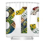 313 Area Code Detroit Michigan Recycled Vintage License Plate Art On White Background Shower Curtain