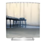 32nd Street Pier In The Fog Shower Curtain