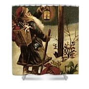 American Christmas Card Shower Curtain