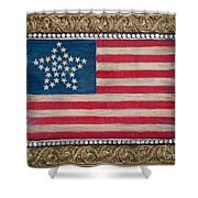 33 Star American Flag. Painting Of Antique Design Shower Curtain