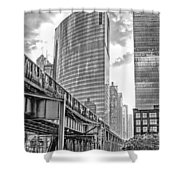 333 W Wacker Drive Black And White Shower Curtain