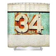34 On Weathered Aqua Shower Curtain
