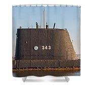 343 Uss Clamagore Diesel Shower Curtain