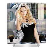 345337 Women Long Hair Lips Eyes Candice Swanepoel Shower Curtain