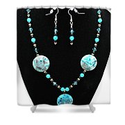 3508 Crazy Lace Agate Necklace And Earrings Shower Curtain
