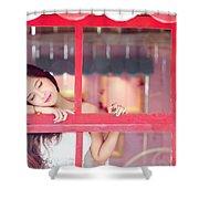 351943 Closed Eyes Asian Women Model Shower Curtain