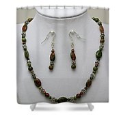 3525 Unakite Necklace And Earring Set Shower Curtain