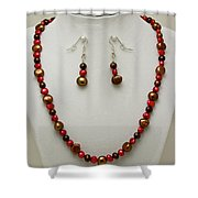3536 Freshwater Pearl Necklace And Earring Set Shower Curtain