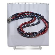 3540 Triple Strand Freshwater Pearl Necklace Shower Curtain