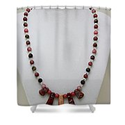 3541 Rhodonite And Jasper Necklace Shower Curtain