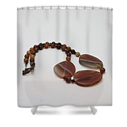 3543 Coffee Vein Agate Necklace Shower Curtain