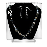 3545 Black Cracked Agate Necklace And Earring Set Shower Curtain