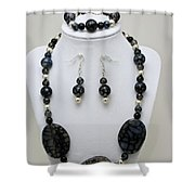 3548 Cracked Agate Necklace Bracelet And Earrings Set Shower Curtain