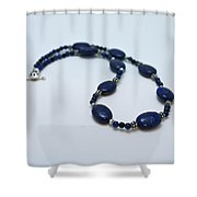3553 Lapis Lazuli Necklace And Earrings Set Shower Curtain