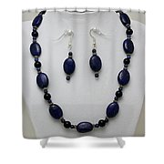 3555 Lapis Lazuli Necklace And Earring Set Shower Curtain