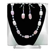 3560 Rose Quartz Necklace And Earrings Set Shower Curtain
