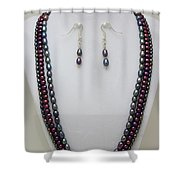 3562 Triple Strand Freshwater Pearl Necklace Set Shower Curtain