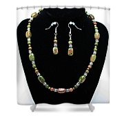 3565 Unakite Necklace And Earrings Set Shower Curtain