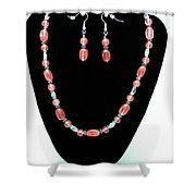 3570 Cherry Quartz Czech Glass Set Shower Curtain