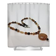 3574 Coffee Onyx Necklace Shower Curtain