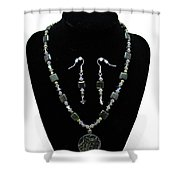 3576 Kambaba And Green Lace Jasper Necklace And Earrings Shower Curtain