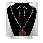 3578 Jasper And Agate Long Necklace And Earrings Set Shower Curtain
