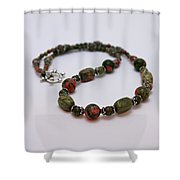 3579 Unakite Necklace  Shower Curtain
