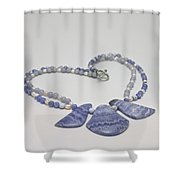 3588 Blue Banded Agate Necklace Shower Curtain