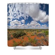 360 Of Clouds Over Desert Shower Curtain