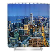 360chicago Rivers Begin To Glow - Skyline Panorama Shower Curtain