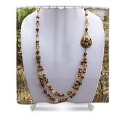 3615 Long Pearl Crystal And Citrine Necklace Featuring Vintage Brass Brooch  Shower Curtain